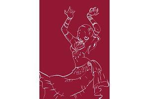 Tribal Fusion bellydance dancer contour graphic design