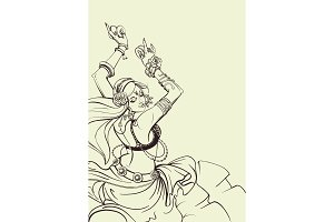 Tribal Fusion bellydance dancer contour graphic design