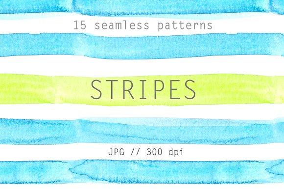Watercolor Stripes 15-piece Set