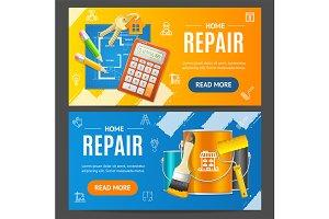 Home Repair Service Banner Set.