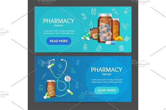 Pharmacy Banner Horizontal Set