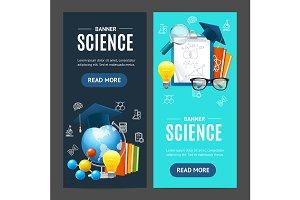 Science Banner Set. Vector