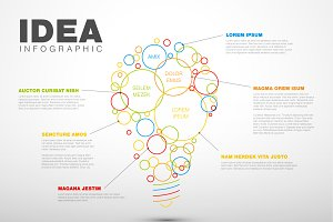 Thin line idea infographic template