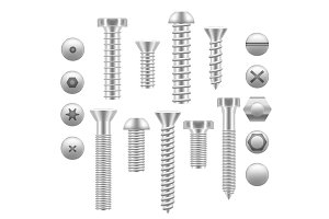 Realistic Screw Icon Set Different