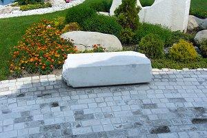 Concrete block paving of garden path