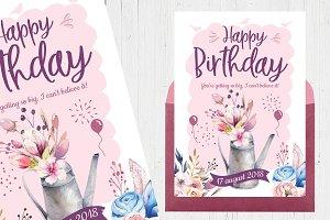 Flowery birthday cards