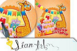 Baby birthday card with girafe