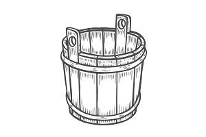 old wooden bucket.