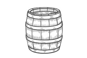 Wine or beer barrel isolated