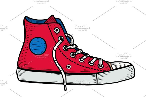 Red Sneakers And Ink Spots