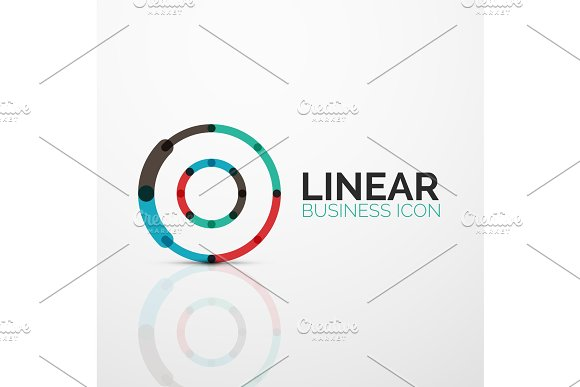 Outline minimal abstract geometric linear business icon made of line segments, elements