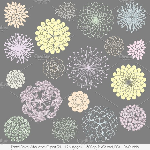 Pastel Flowers Vectors and Clipart
