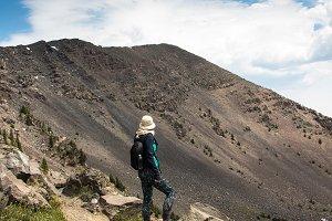 Backpacker hiking to  Humhreys Peak