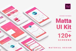 Material Design Mobile UI Kit for Xd