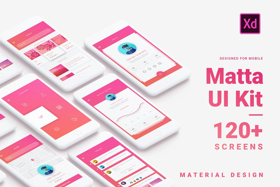 Material Design Mobile UI Kit for Xd ~ UI Kits and Libraries