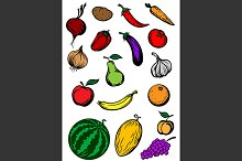 Organic ripe vegetables and fruits