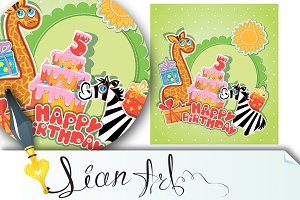 birthday card with girafe and zebra