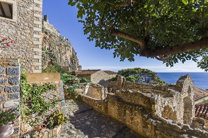 streets of Byzantine town of Monemvasia, Greece