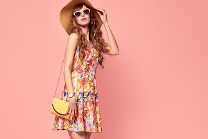 Beautiful Lady in Floral Dress. Vint