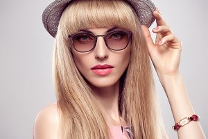 Fashion Portrait Blond Model in Styl