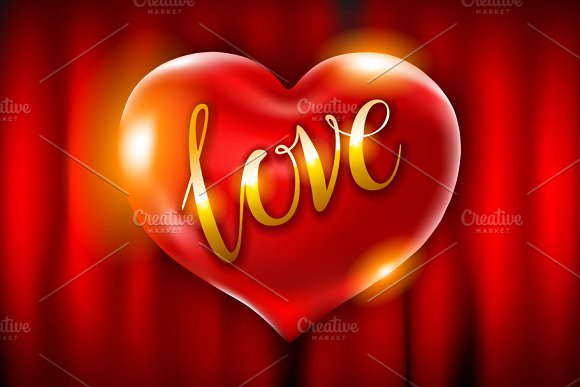 Realistic 3D Red Hear Love Vector