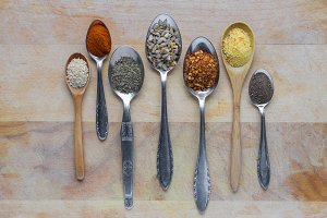 vintage spoons with spices