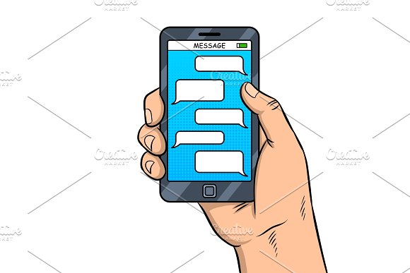 Smart Phone Messaging Pop Art Vector