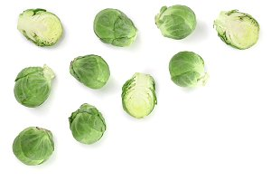 Brussels sprouts isolated on white background with copy space for your text. Top view. Flat lay