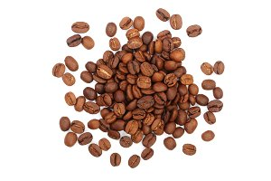 Coffee beans isolated on white background top view