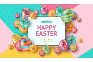 Easter card with square frame and ornate eggs