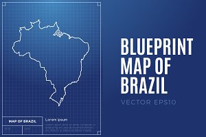 Map of Brazil - Blueprint