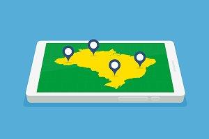 Smartphone Map -  Brazil