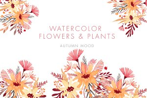 Watercolor Flowers - Autumn Mood