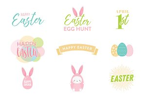 Easter Vector Text Set