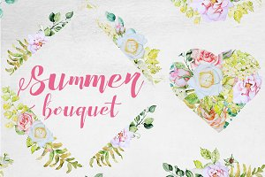 Watercolor Summer Bouquet Clipart