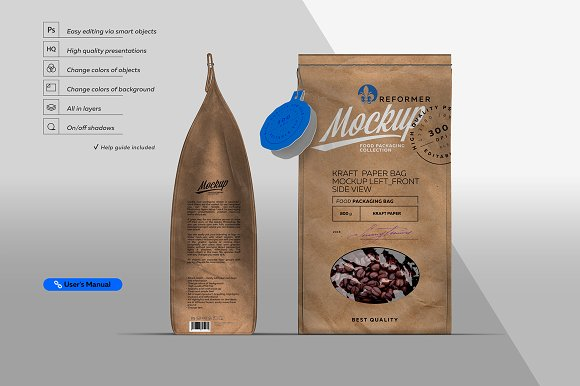 Kraft  Paper Bag Mockup Left & Front