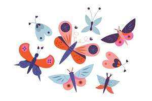 Butterflies and flowers vector set