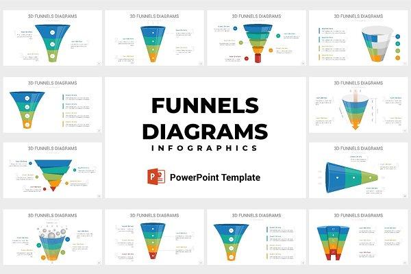 3D Funnels Diagrams PowerPoint