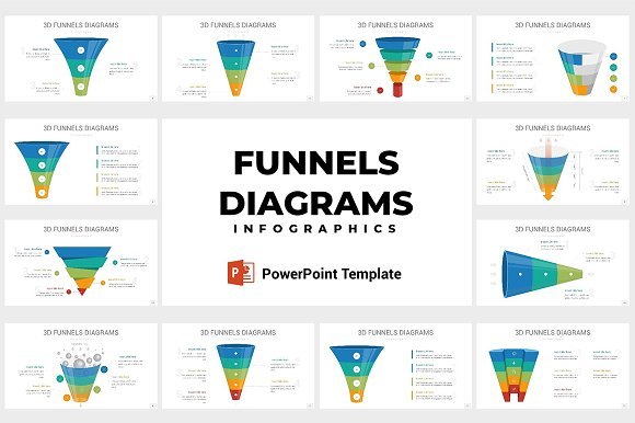 3d funnels diagrams powerpoint presentation templates creative