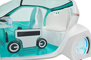 Car future futuristic interior, close view