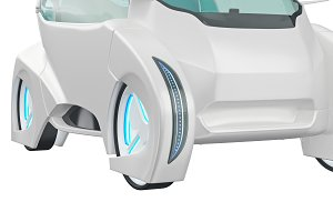Car futuristic transportation, close view
