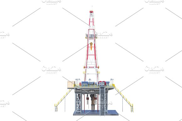 Land rig drilling, back view