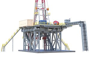 Land rig drilling, close view