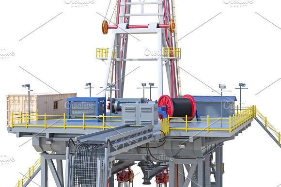 Land Rig Oil Drilling Close View