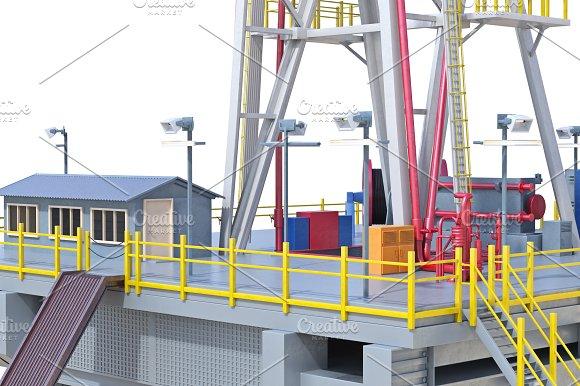 Rig Platform Oil Production Close View