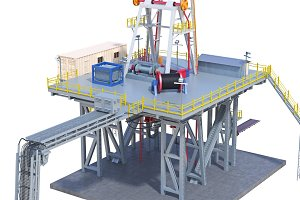 Land rig industrial platform, close view