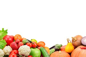 collage fresh fruits and vegetable