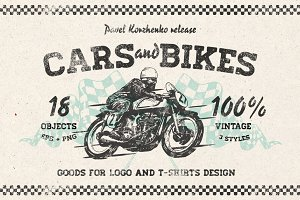 Hand drawn Cars and Bikes