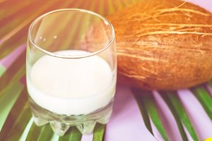 milk. a glass of coconut milk. exoti