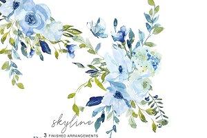 Watercolor Blue Florals Clip Art